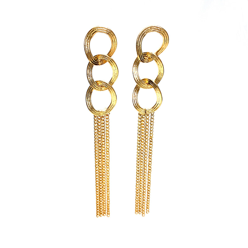 Trendy Long Earrings With Dangling Chains