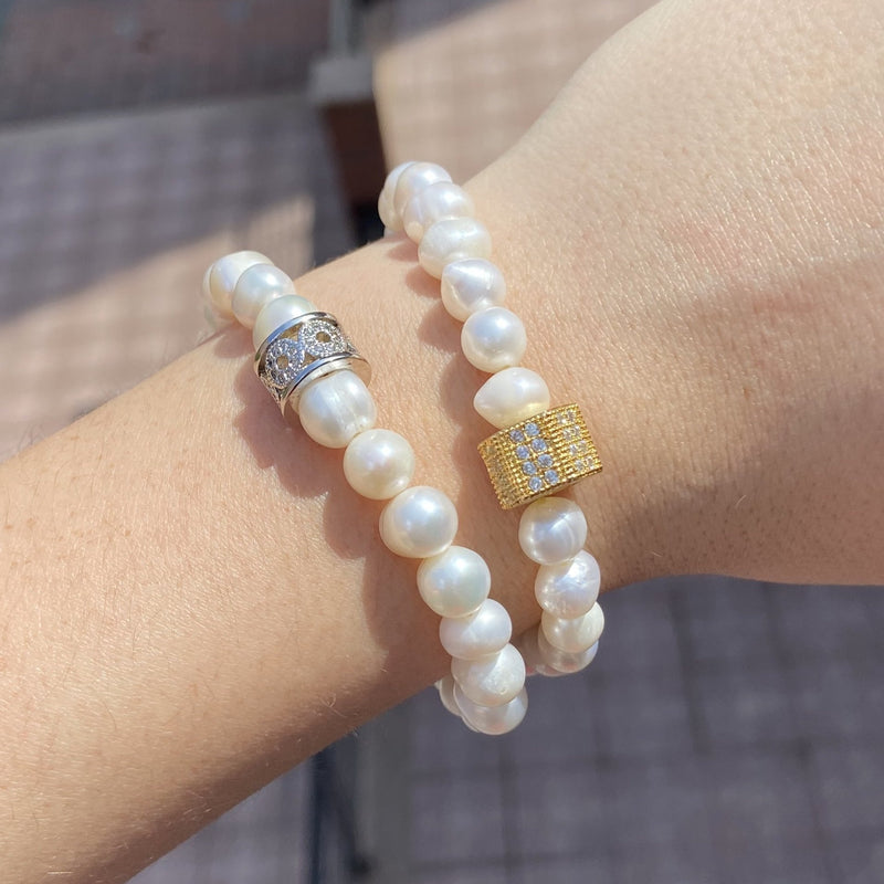 Freshwater Pearl Two Stretch Bracelet Set