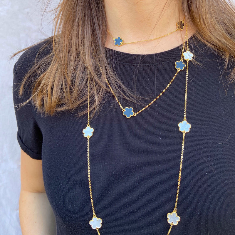 Long Mother-of-Pearl Flower Necklace in Gold