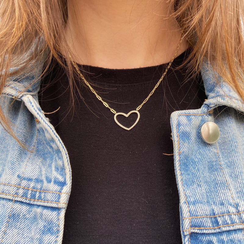 Heart Pendant With Link Chain