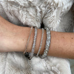 Thick Mesh Crystal & Pearl Fill Bracelet