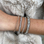 Thin Mesh Crystal Fill Bracelet in Silver