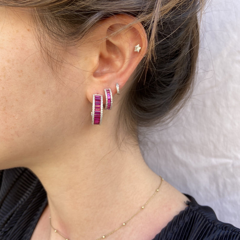Pink Baguette Mini Hoop Earrings