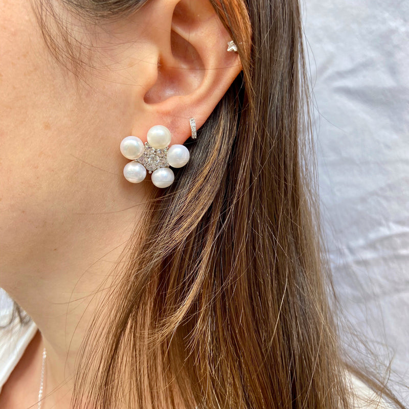 Freshwater Pearl Flower Studs With Cubic Zirconia