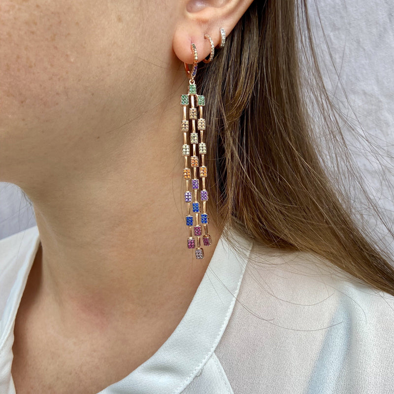 Rose Gold Multi Color Dangle Earrings