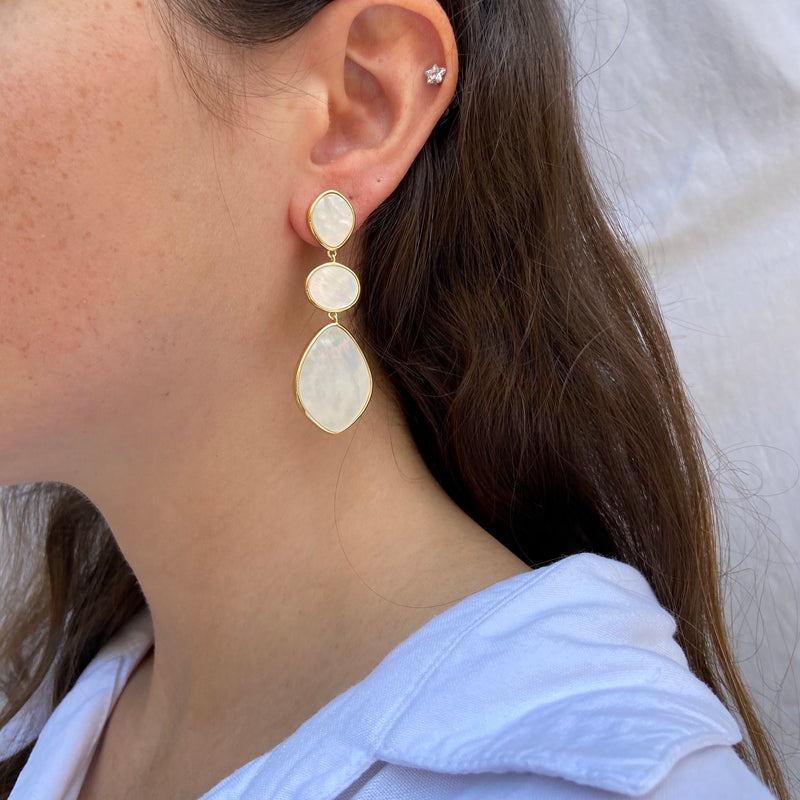 Mother-of-Pearl Three Stone Drop Earrings