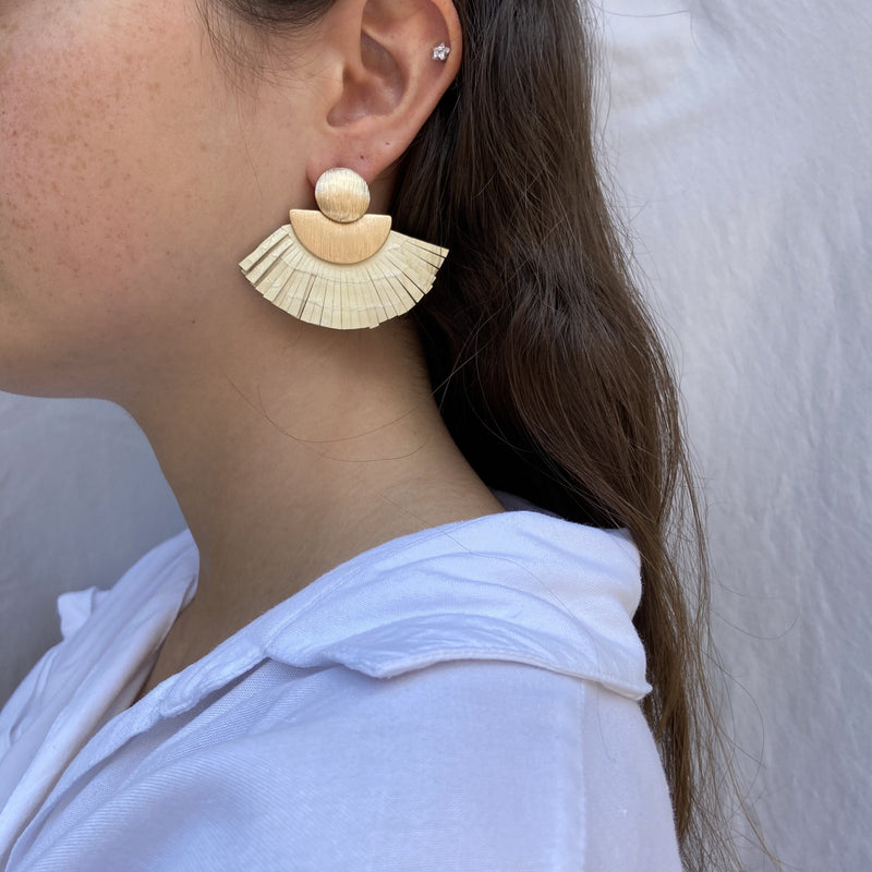 Fun Neutral Fan Earrings