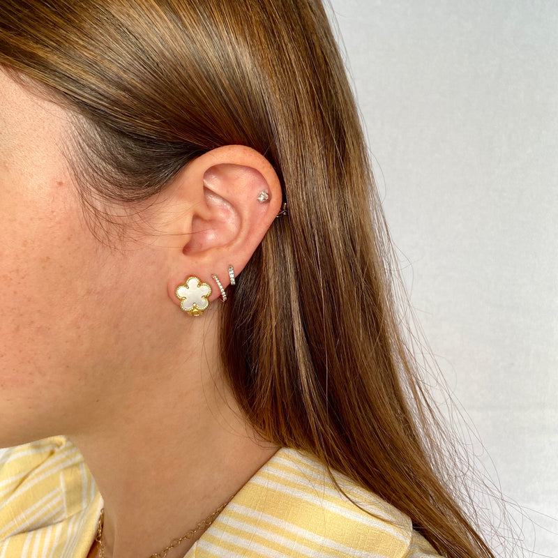 Small Mother-of-Pearl Flower Clip On Earrings