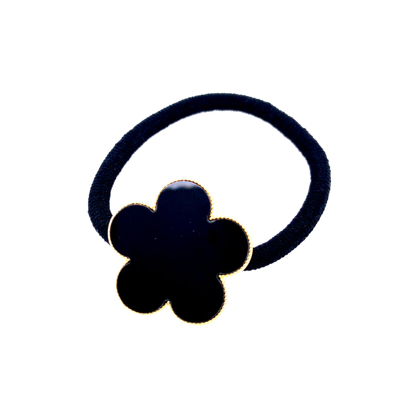 Black Flower Hair Tie