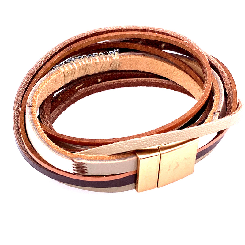 Bronze Leather Wrap Bracelet
