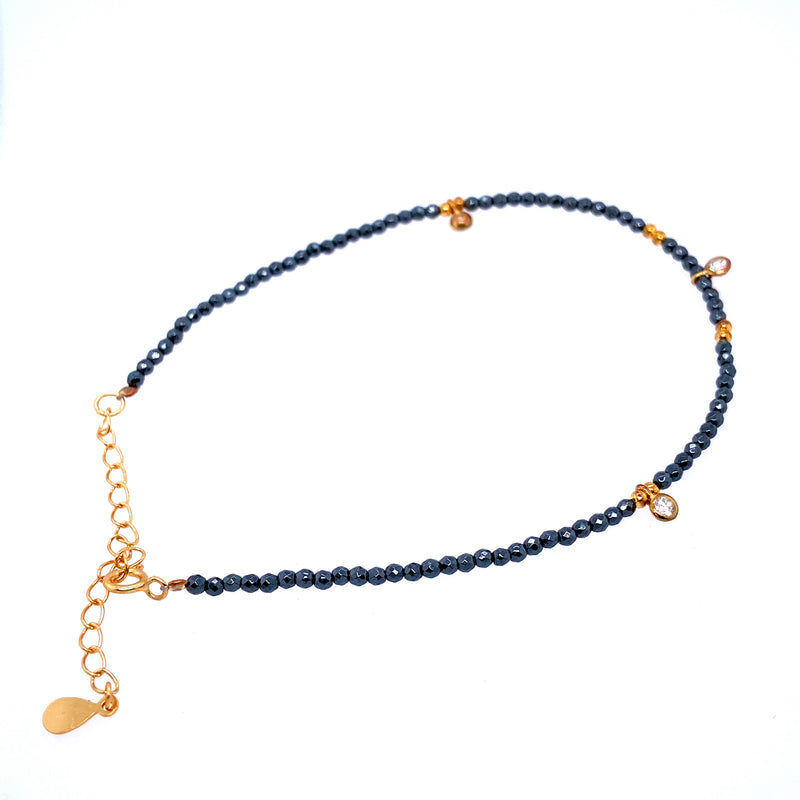 Gray Spinel Bead Anklet