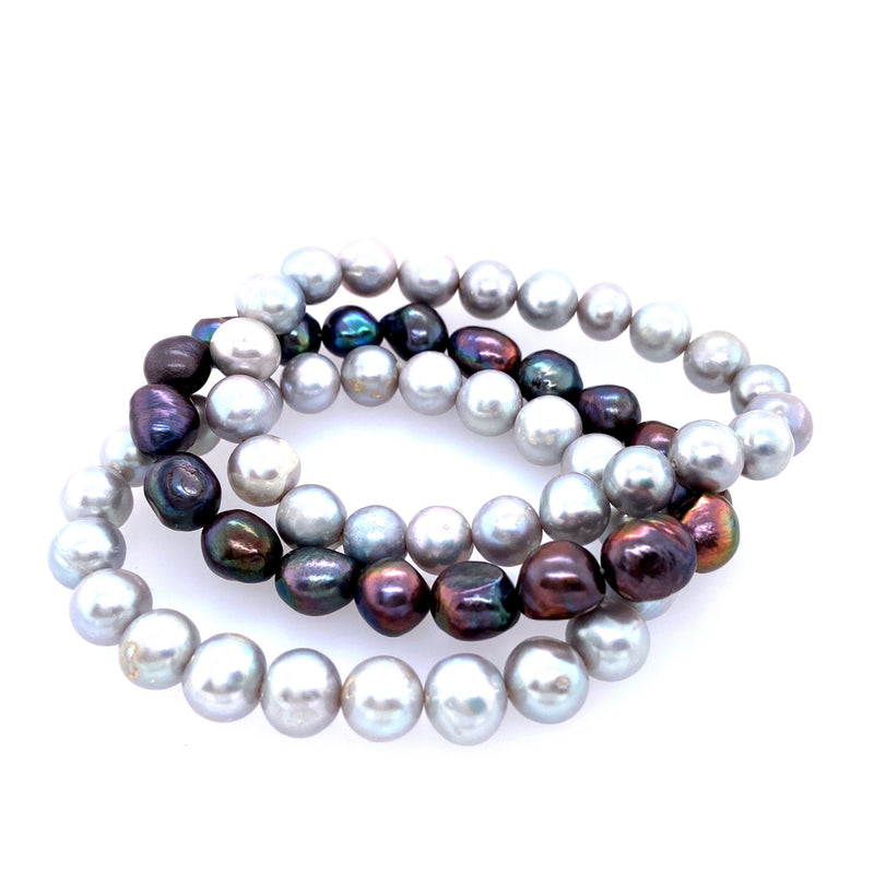 Grey Pearl Three Stretch Bracelet Set