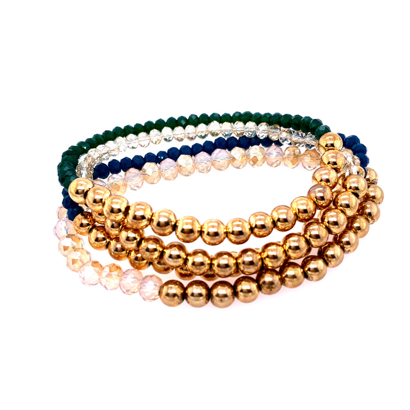 Four Beaded Stretch Bracelet Set