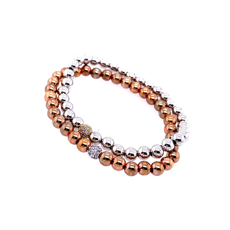 Two Tone Stretch Bracelet Set