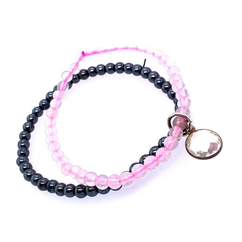 Double Hematite & Rose Quartz Beaded Stretch Bracelet