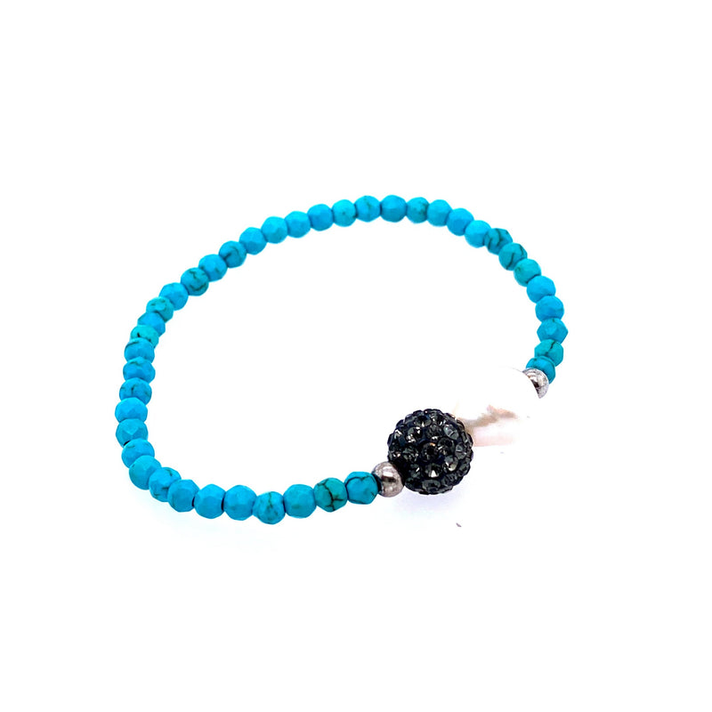 Turquoise Beaded Stretch Bracelet With Freshwater Pearl