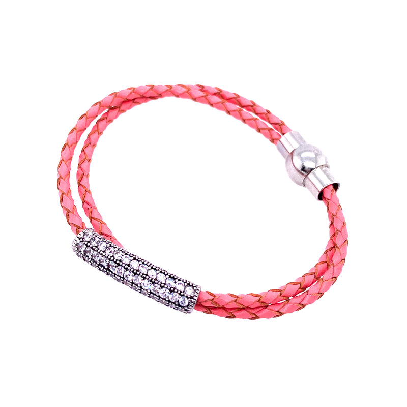 Pink Faux Leather Bar Bracelet