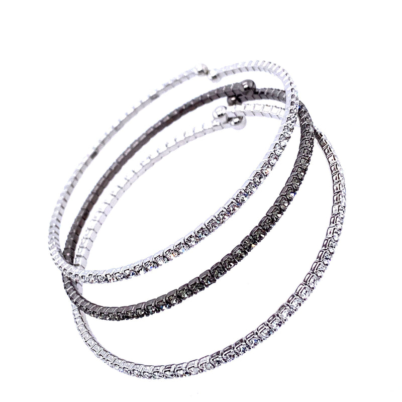 Three Bangle Set in Silver & Gunmetal