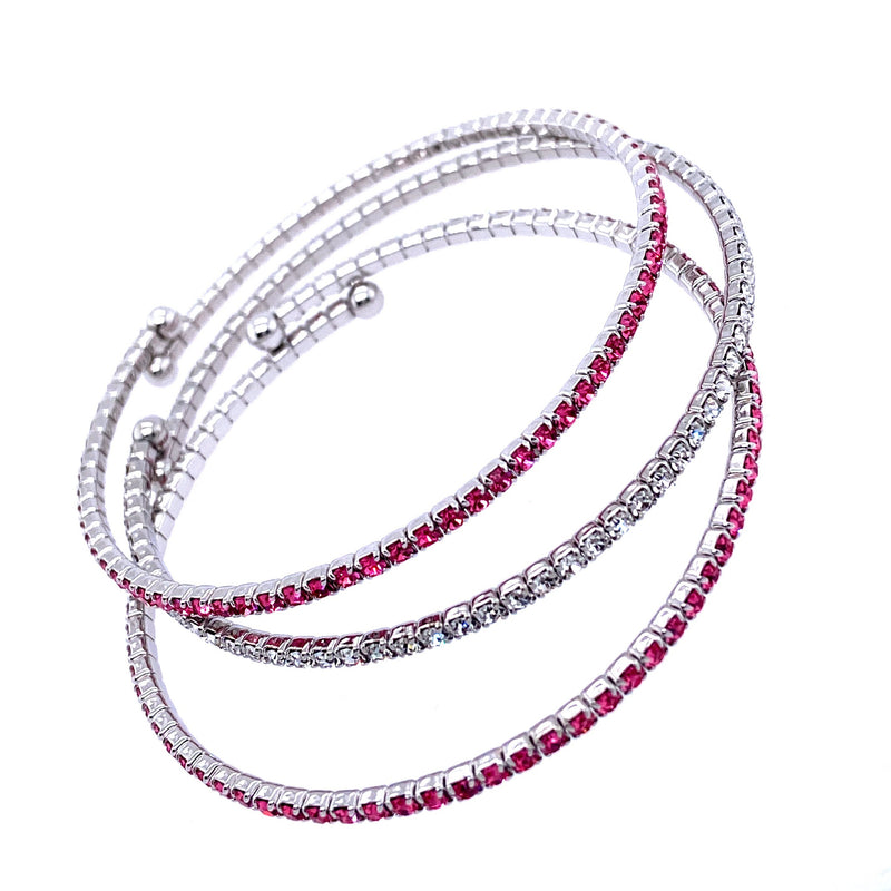Three Bangle Set in Pink & Silver