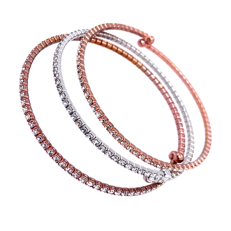 Three Bangle Set in Rose Gold & Silver