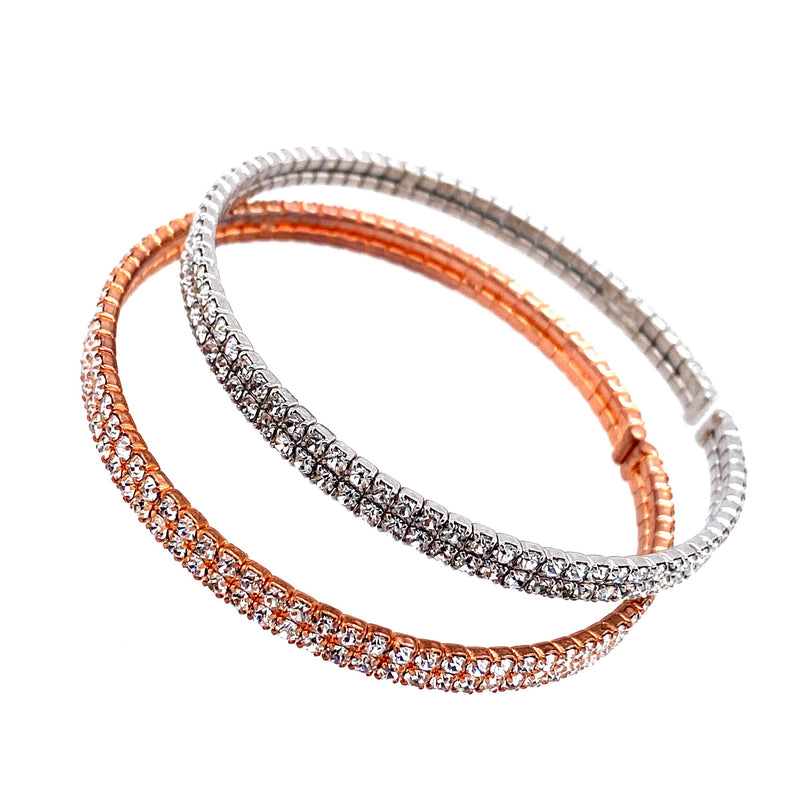 Two Row Double Bangle Set in Rose Gold & Silver