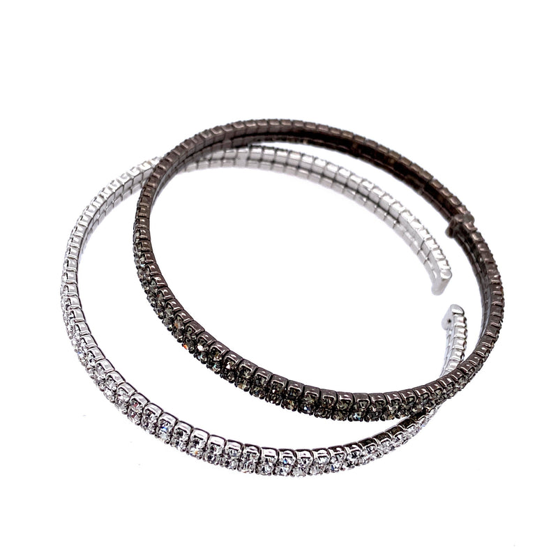 Two Row Double Bangle Set in Gunmetal & Silver