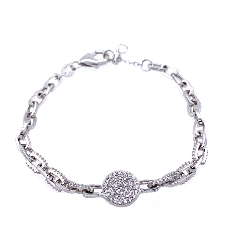 Link Chain Bracelet With Circle Center