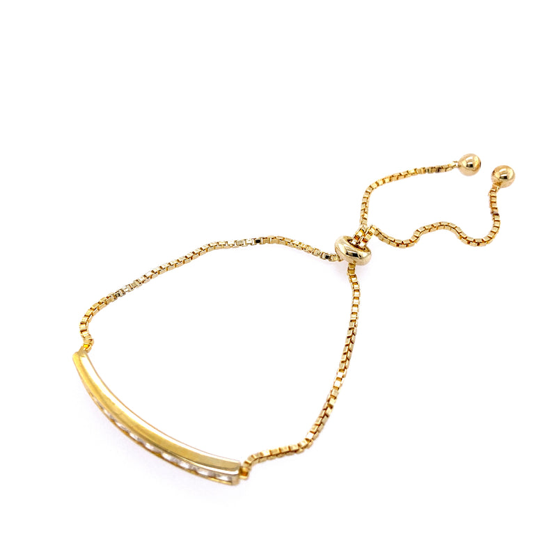 Box Chain Sparkling Bar Bolo Bracelet in Gold