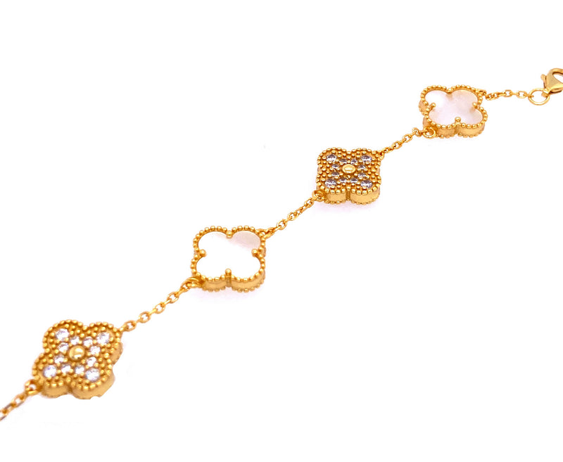 White & Gold Five Clover Bracelet