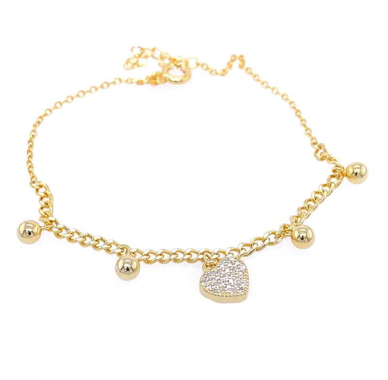 Charm Bracelet With Heart & Spheres in Gold