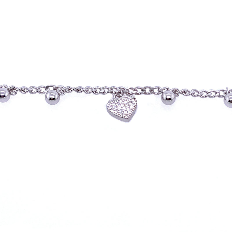 Charm Bracelet With Heart & Spheres in Silver