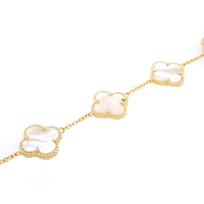 White Five Clover Bracelet in Mother Of Pearl