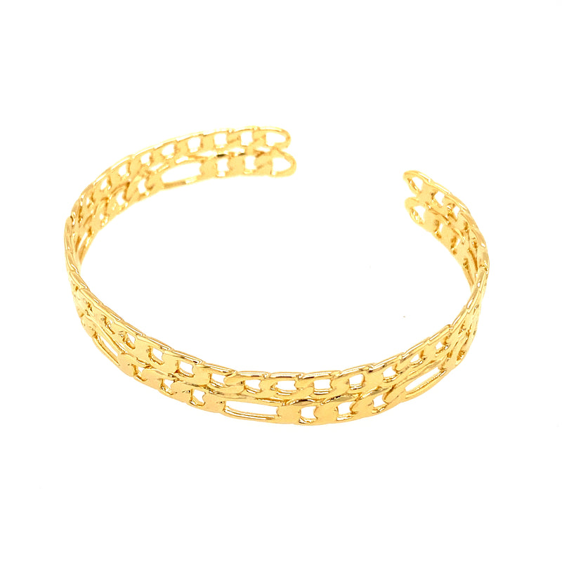 Figaro & Curb Link Two Row Cuff Bracelet