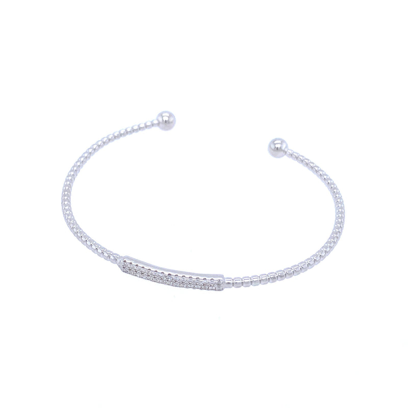 Simple Bar Bangle Bracelet in Silver