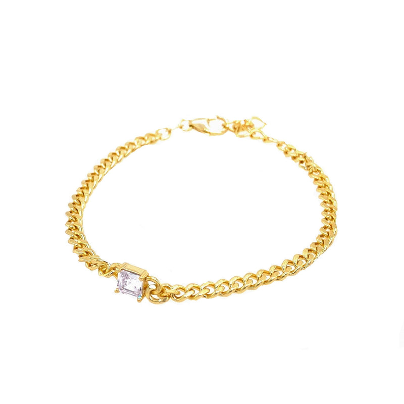 Cuban Link Bracelet With Square Stone