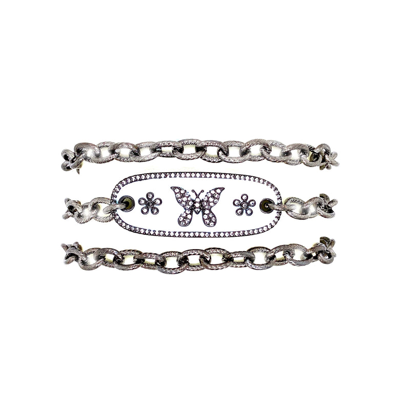Cable Chain Wraparound Bracelet With Butterfly Center