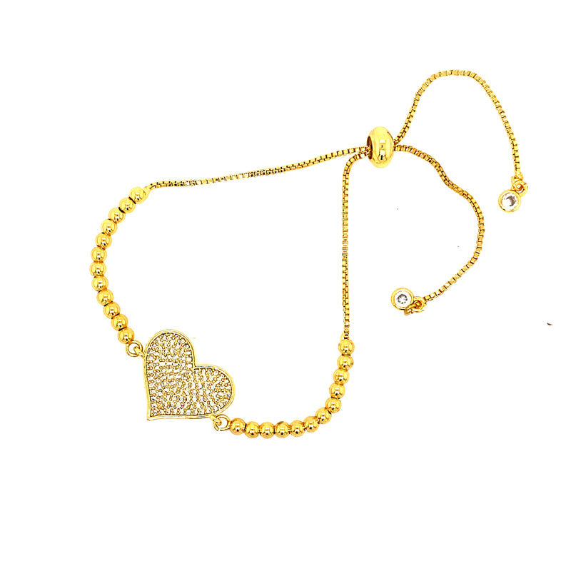 Beaded Bolo Bracelet With Heart in Gold