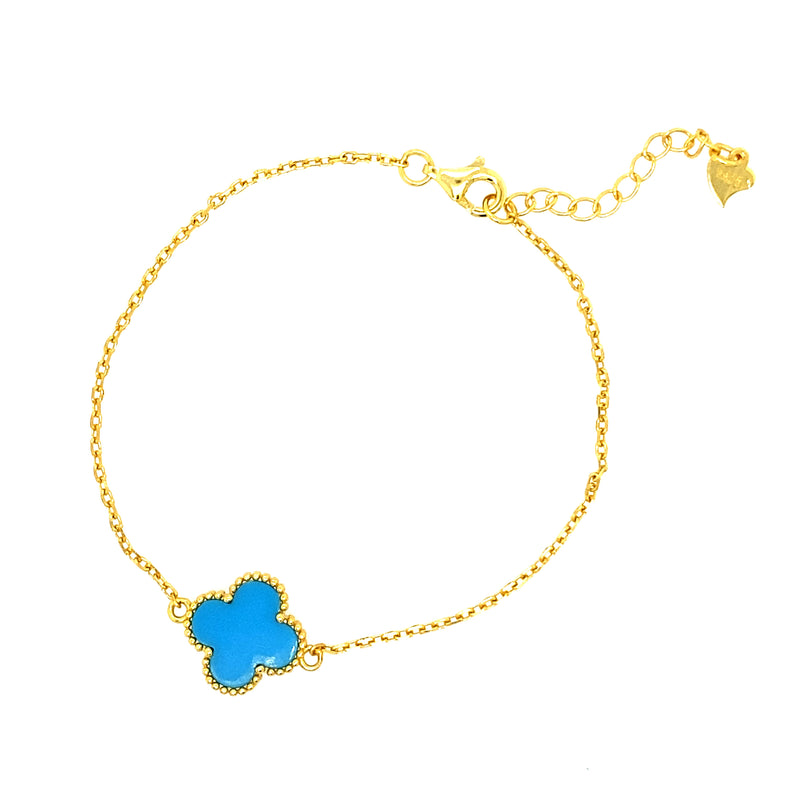 Single Turquoise Clover Bracelet in Gold