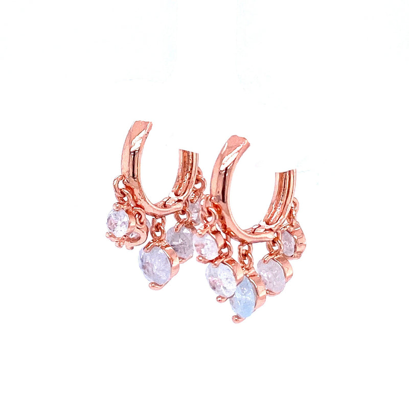Rose Gold Huggie Hoop Earrings With Opal Charms