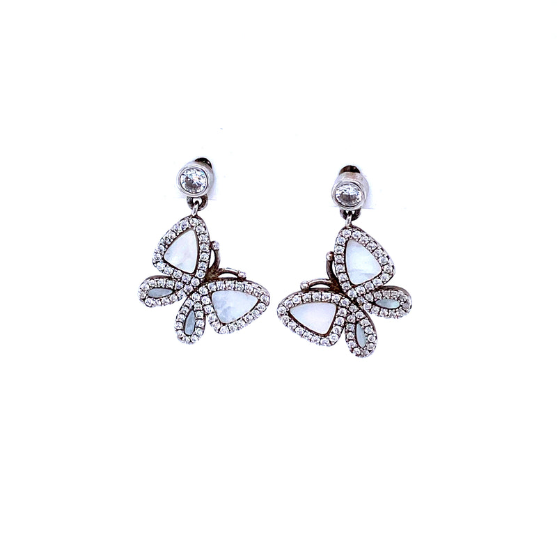 Sterling Silver Mother-of-Pearl Butterfly Earrings