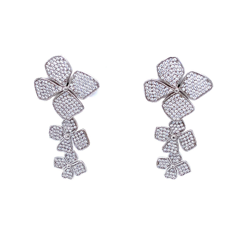 Three Flower Cubic Zirconia Drop Earrings