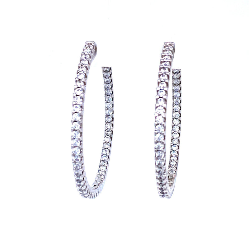 Cubic Zirconia Classic Hoop Earrings