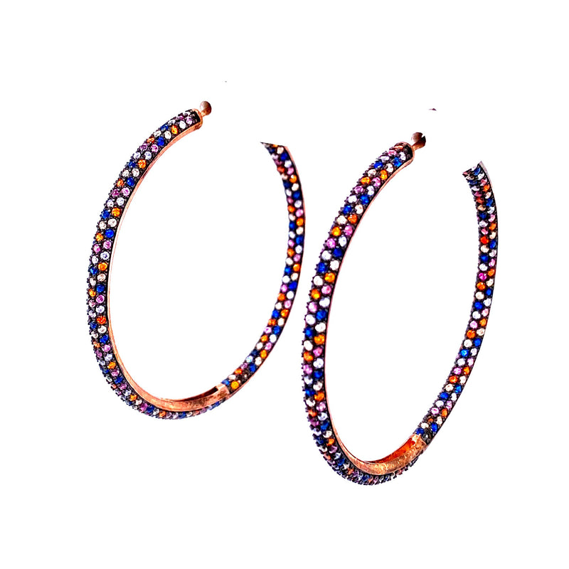 Multi-Color Cubic Zirconia Hoop Earrings