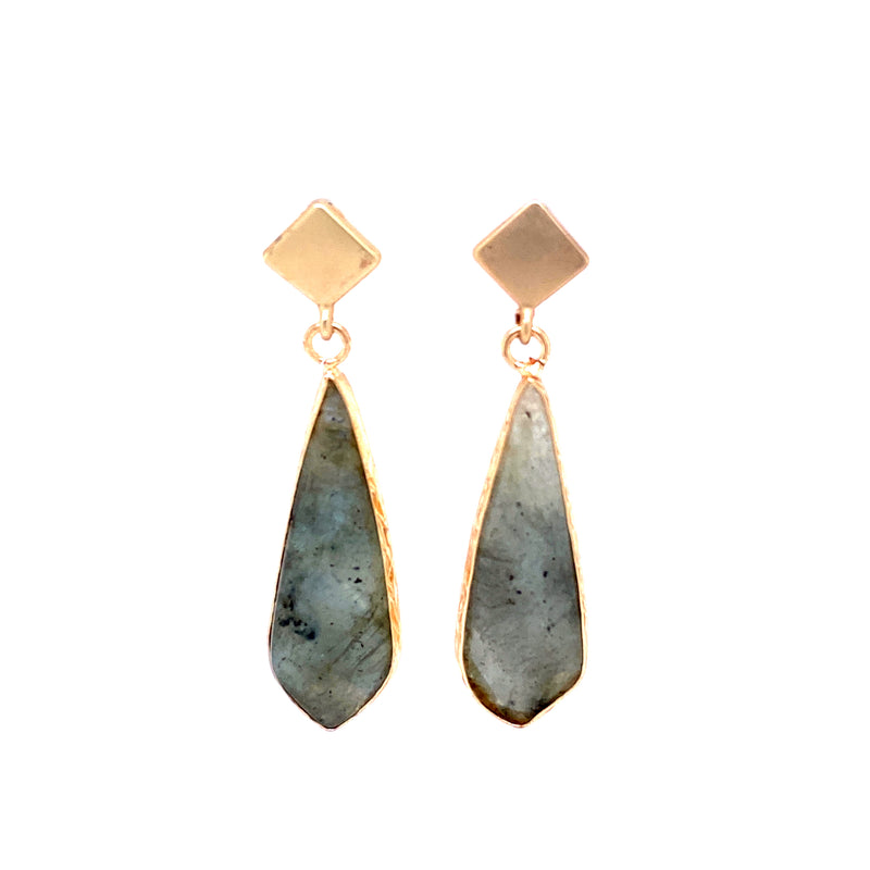 Gold Post Labradorite Drop Earrings