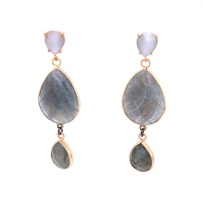 Labradorite Three Stone Earrings