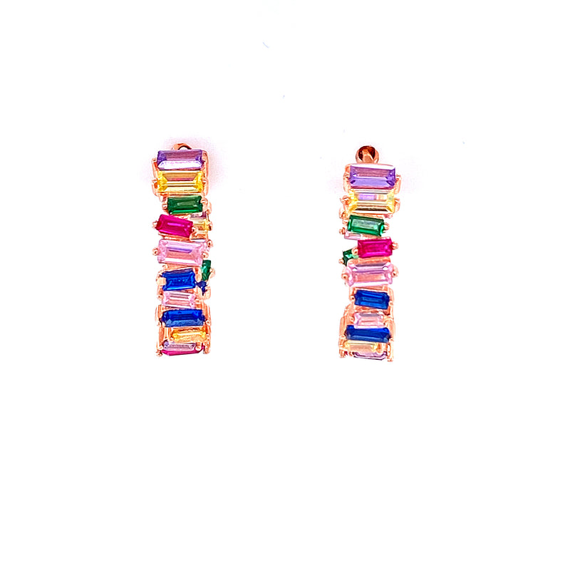 Mutli Color Baguette Hoops