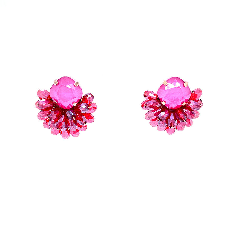 Swarovski Crystal and Ruby Bouquet Studs