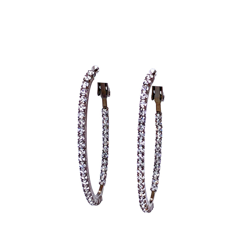 Crystal Oval Hoops in Gunmetal
