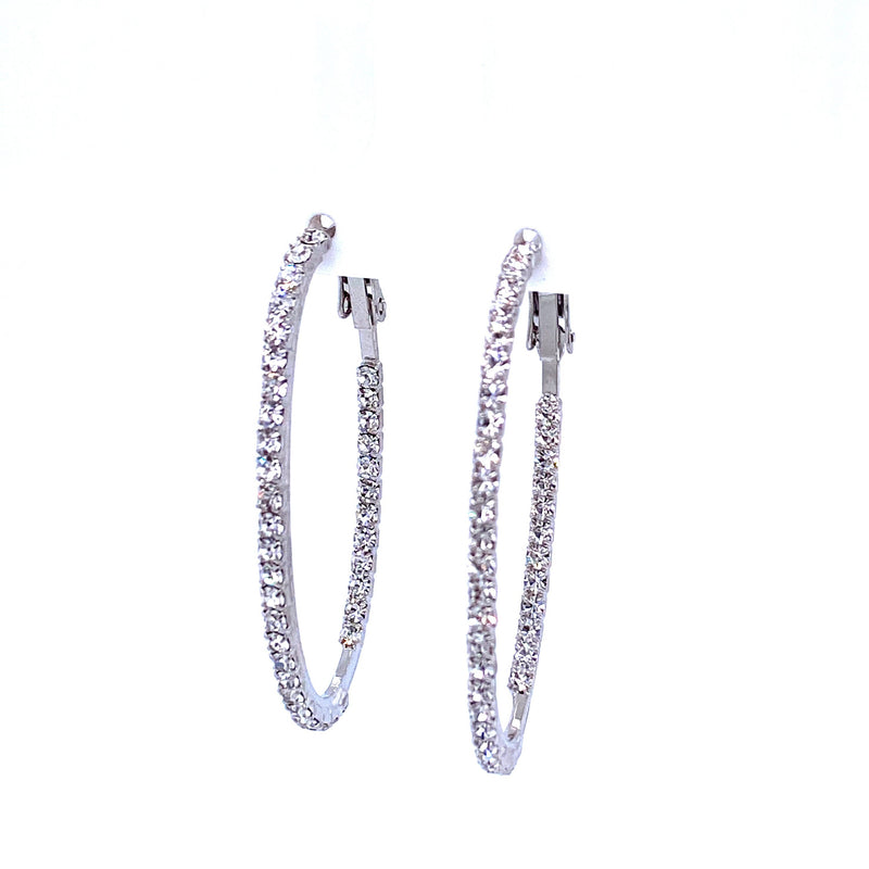 Crystal Oval Hoops in Silver