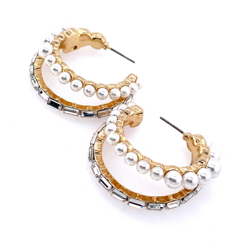 Double Hoops With Baguettes and Pearls